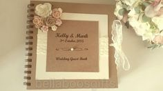 Rustic Wedding Guest Book lace vintage style wedding guest