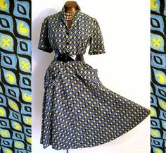 Vintage 40s Lucy Dress Day Cotton Novelty Print Blue Yellow 44 Bust XL on etsy.com $75.00  VCAT