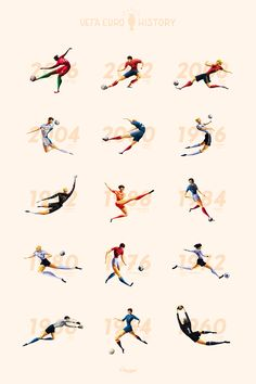 14 illustrations retrace the history of the tournament through its winners and their key players, from EURO 60 to EURO 2016.