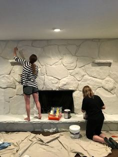I finally decided to paint my dark and dated rock fireplace and have no regrets! Check out these simple steps to modernize your space today. Painted Rock Fireplaces, Painted Stone Fireplace, Stone Fireplace Makeover, Fireplace Update, Paint Fireplace, Home Fireplace, Fireplace Remodel, Faux Stone Fireplaces, Tall Fireplace