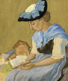 Walliser woman reading Reading and Art: Charles-Clos Olsommer