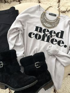 Fall & Winter Fashion - camo pants and 'need coffee' top