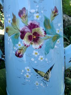Antique pansy cafetiere