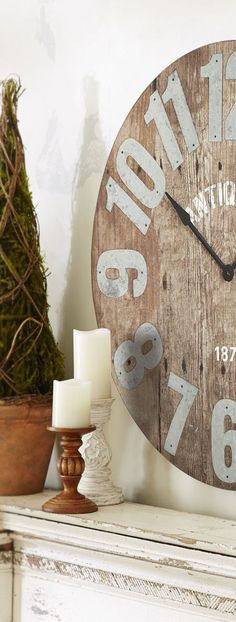 Farmhouse decor reflects a slower, more relaxed pace of life in the country. Find out how to decorate with Farmhouse style with Interior Designer, Tracy Svendsen. Rustic Style, Rustic Decor, Farmhouse Style, Farmhouse Decor, Diy Clock, Clock Decor, Log Home Living, Living Room, Farmhouse Clocks