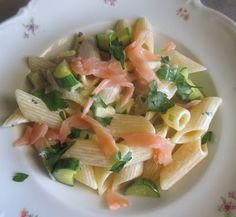 FORNELLI IN FIAMME: PENNE WITH SALMON, ZUCCHINI AND SOYA CREAM - Penne al salmone e zucchini con panna di soya