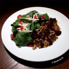 Dinner – BBQ Pulled Chicken and Red Bell Pepper Spinach Salad