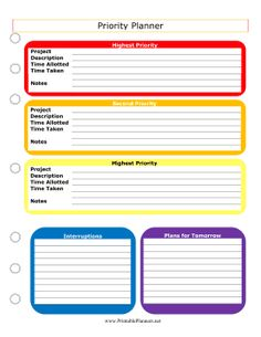 Color-coded according to importance, the projects in this printable planner are organized according to priority. Free to download and print
