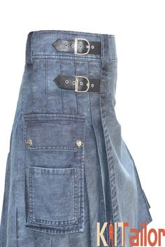Blue Washed Denim utility Kilt Custom Made