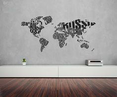 World map wall decal - Living room, Salon, Office, Kitchen, Bedroom, Children, Nursery, Wall Decal Wall Sticker,Wall Decor on Etsy, $51.00