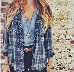 plaid shirt, high waisted denim, v-neck tee, simple hair, simple outfit