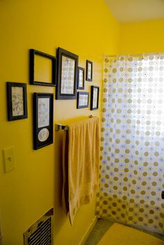 Yellow Bathroom Black Prints Bold Simple Elegant We Love This