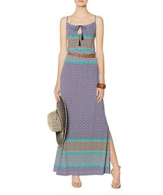 Look at this Blue Arabesque Tassel Maxi Dress on #zulily today!