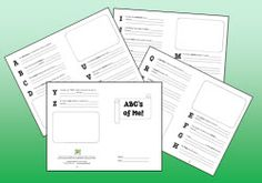 Free ABC's of Me booklet and blank ABC booklet pages. How would you use the blank template? I'm compiling ideas to share! ~ Laura Candler