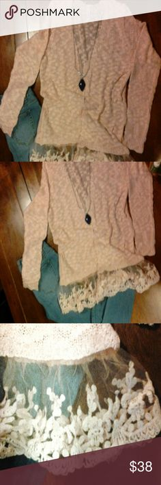 NWT Retail! Dusty Pink Cardigan Soft knit cardigan with lace trim. Open front. Long sleeve. Sweaters Cardigans