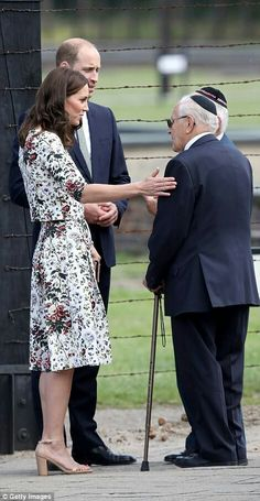 Catherine Duchess of Cambridge and William Duke of Cambridge speak to former prisoners of Stutthof concentration camp in Poland. July 18 2017