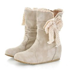 Beige Round Toe Flat Bow Fashion Ankle Boots