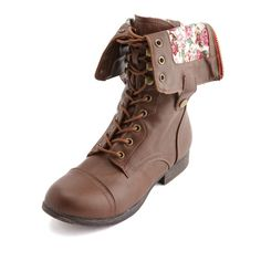 Floral-lined zippered combat boot.