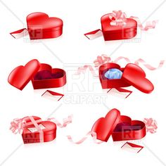 Red heart-shaped boxes with ribbon, 7968, download royalty-free vector clipart (EPS)