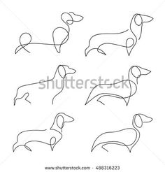 One line dog design silhouette. Dachshund. Hand drawn minimalism style vector illustration