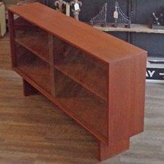 Refinished Teak Media Cabinet Bookshelf   Vintage Home Boutique   4