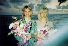Kurt and Courtney. February 24, 1992, Waikiki Beach, Hawaii.