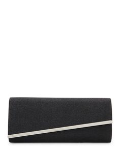Sasha Black Asymmetrical Flap Glitter Clutch