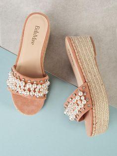 0343a53ad5929 Pearl and Gemstone Embellished Espadrille Platform Wedge Mule Sandal -SheIn( Sheinside)