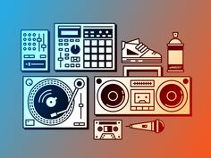 Rap Elements designed by Connect with them on Dribbble; Hypebeast Wallpaper, Hip Hop Art, Poster Design Inspiration, Cover Art, Icon Design, Music Mixer, Technics Turntables, Tattoo Hip, Illustration Art