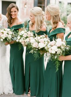 A Line Off the Shoulder Green Mermaid Bridesmaid Dress Side Slit Bridesmaid Dresses Wedding Emerald Green Bridesmaid Dresses, Emerald Green Weddings, Emerald Dresses, Wedding Bridesmaid Dresses, Emerald Wedding Colors, Hunter Green Weddings, Bouquet Wedding, Forrest Green Bridesmaid Dresses, Wedding Ceremony
