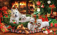 West Highland Terrier - Fireside Christmas
