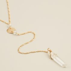 Quartz and Gold Lariat Necklace | World Market