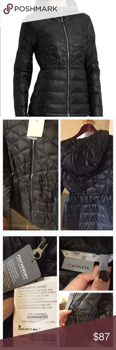 New athleta down with it jacket Designed to hit at the low hip for almost complete CYA coverage, this Insul8 down jacket features a flattering cinch waist shape and wind-resistant, water-repellant outer fabric. INSPIRED FOR: adventure To Fro Two-way front zip for ventilation and enhanced mobility, hood with interior cinches for a custom fit, zipper garage won't chafe your chin Mix of diamond and straight channel quilting for superior warmth distribution Elastic cuffs trap warmth, two front…