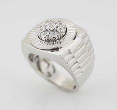 Sterling Silver Men's Diamond Ring Mens by SweetDiamondsJewelry
