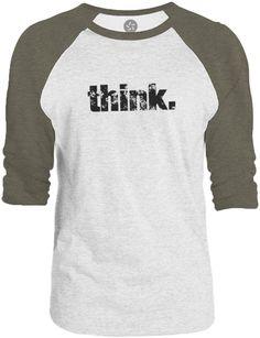 Big Texas Think (Black) 3/4-Sleeve Raglan Baseball T-Shirt