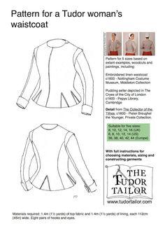 Pattern for Women's Tudor or Elizabethan by TheTudorTailor on Etsy