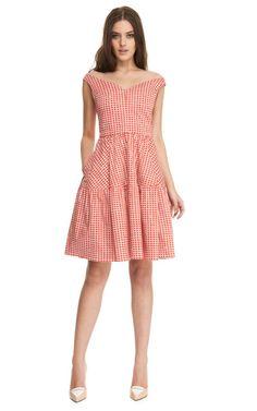 Printed V-Neck A-Line Dress by Carven Now Available on Moda Operandi