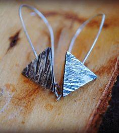 Silver Triangle Drop Earrings