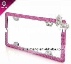 fashion crystal pink car license plate frame with swarovski (CA-F4-1) Paypal