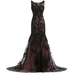 Sunvary Vintage Black Lace Applique Mermaid Mother of the Bride... ($160) ❤ liked on Polyvore featuring dresses, gowns, long dresses, vestidos, lace dress, vintage dresses, lace gown, vintage mother of the bride dresses and long gowns