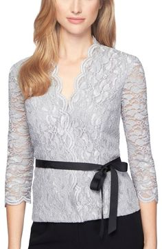 Alex Evenings Belted Lace Top available at #Nordstrom