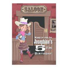 Childrens Cowgirl Birthday Personalized Announcement