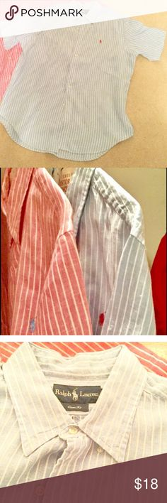 MENS RALPH LAUREN LINEN STRIPED SHIRT CLASSIC FIT Worn once then dry cleaned. NO TRADES OR OFF POSH TRANSACTIONS. Ralph Lauren Shirts Casual Button Down Shirts