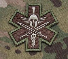 Spartan Multicam Tactical Combat Medic Badge Morale Velcro Military Patch