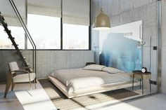 camas-matrimonio-bajas-paredes-hormigon-dormitorio