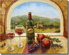 "Fine Art Tuscan Wine Ceramic Tile Mural and Backsplash by Artwork On Tile x - ""Wine Table View"" by Joanne Morris - Perfect for kitchens, backsplashes, showers and other interior spaces. Tuscan Art, Tuscan Style, Tile Murals, Tile Art, Tiles, Tuscan Kitchen Design, Kitchen Decor Themes, Kitchen Ideas, Wine Table"