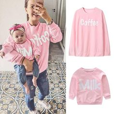 448d577993 MUQGEW Mommy and Me Fashion Tops Mother Daughter Long Sleeves Milk Cof