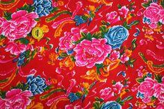 chinese fabrics red pink