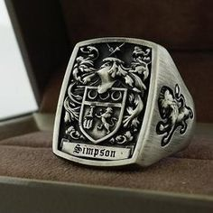 Mens Ring Signet Ring Custom Crest Ring By Kay 3dheraldry