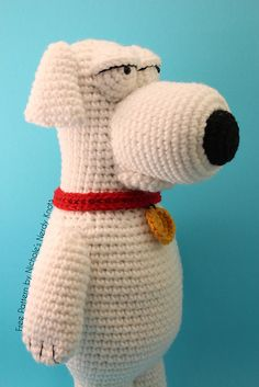 "Dog Brian from Family Guy (14inches tall) - Free Amigurumi Pattern - PDF File - Click to ""download"" here: http://www.ravelry.com/patterns/library/brian-from-family-guy"