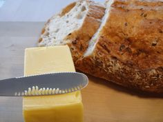 A Kickstarter for a butter knife has a built-in grater to aerate and soften butter while you spread it.